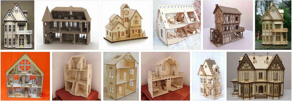 Деревянные кукольные домики на лазере